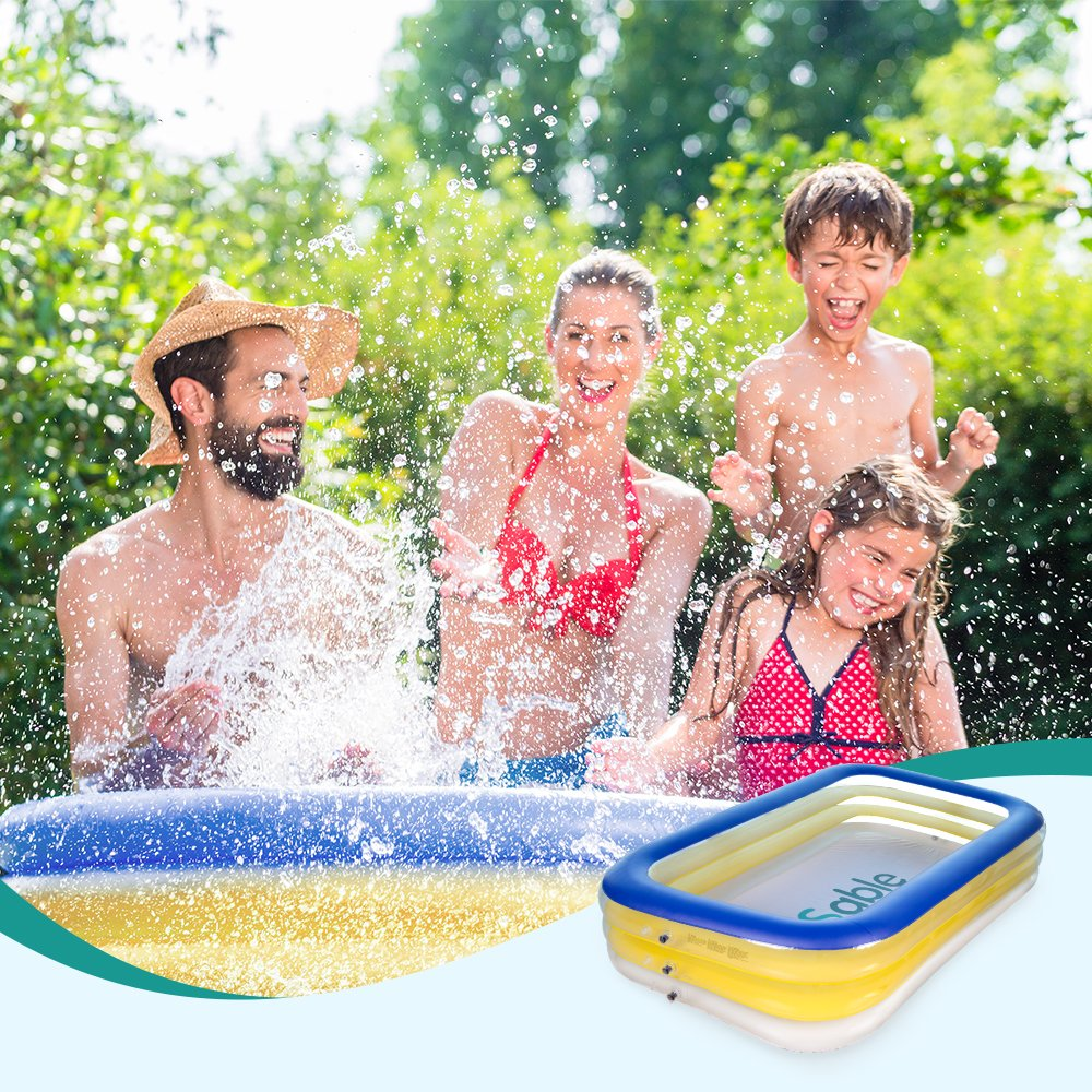 Sable Inflatable Swimming Pool, Giant Family Swim Rectangular Pool for Ages 3+