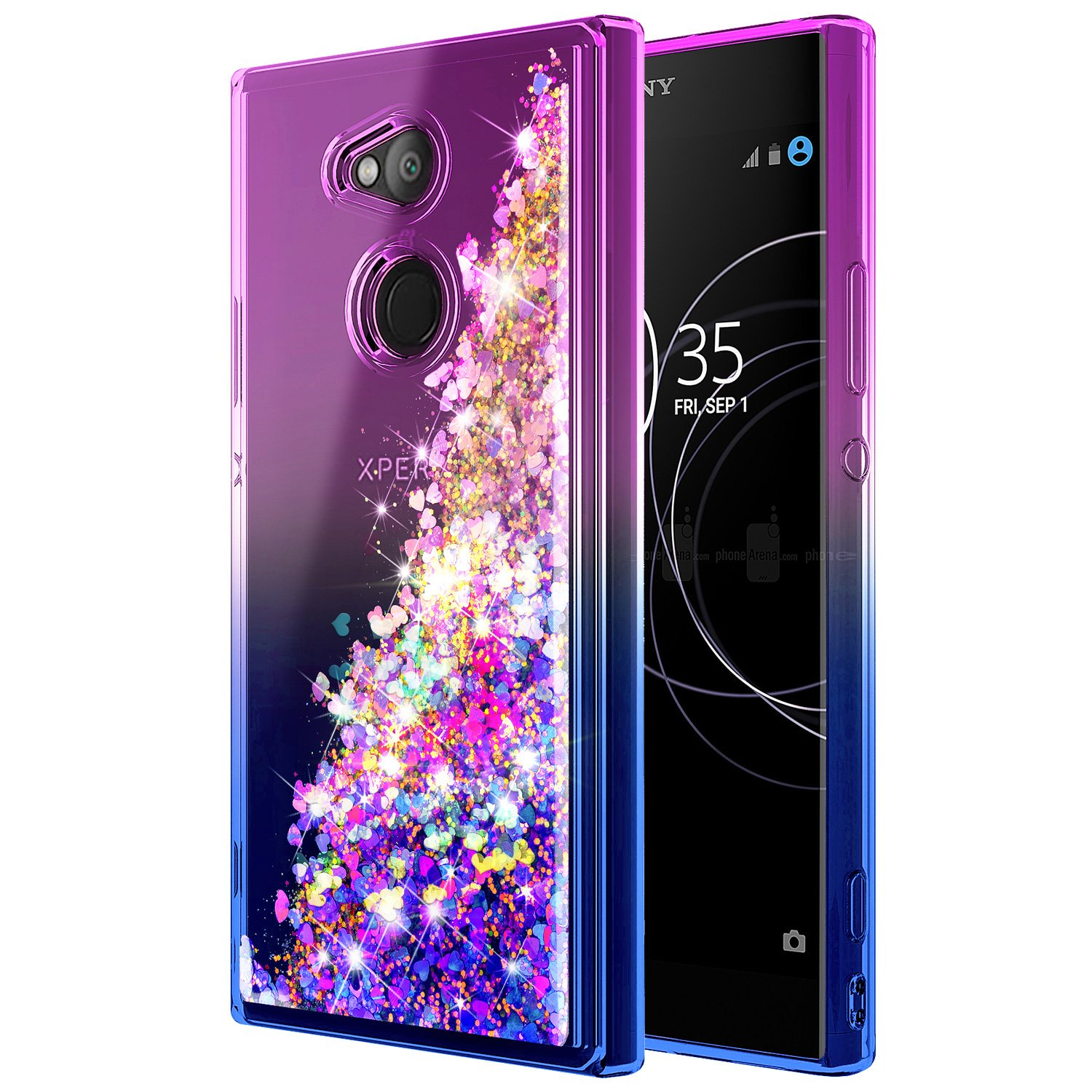 NageBee Compatible with Sony Xperia XA2 Ultra Case w/[Full Coverage Tempered Glass Screen Protector] Glitter Liquid Quicksand Waterfall Floating ...
