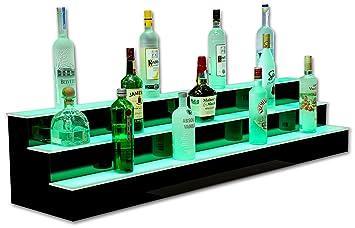 60quot 3 step led illluminated commercial grade back bar shelving programmable led lighting back bar lighting