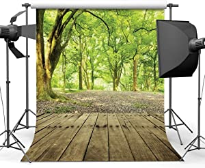 SJOLOON 10x10ft Nature Forest Photography Backdrop Wood Floor Photo Background Vinyl Studio Prop 9376