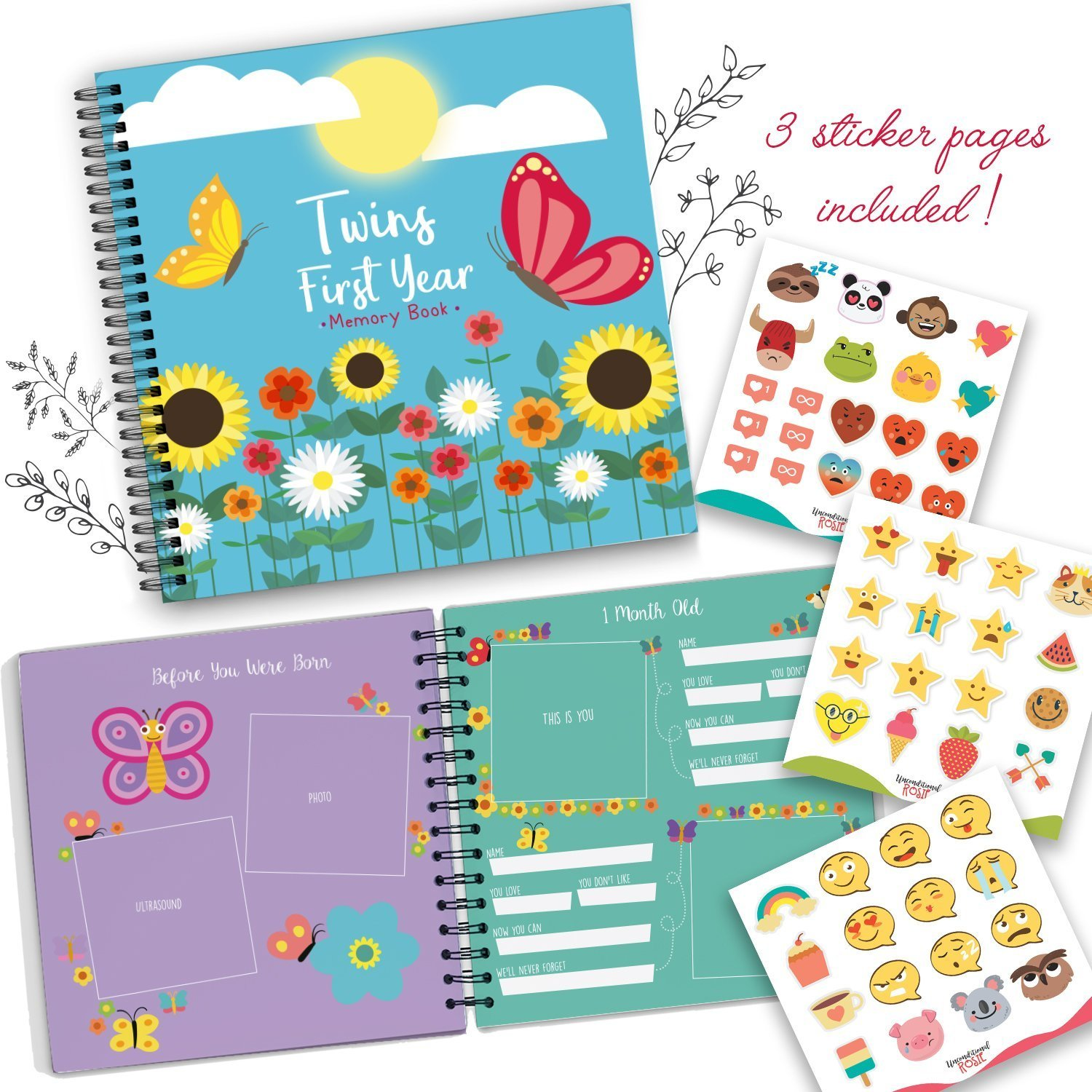 Baby Memory Book for Twins - The Only Baby Keepsake Journal for Documenting Your Twin's First Year! - Butterfly Edition