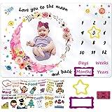 Milestone Blanket for Baby Girl, Kmivo Baby Monthly Photo Blankets Soft Large Memory Blanket with Headband & Milestone Cards