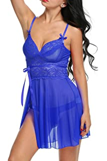 8508331c67 Hotouch Womens Bra and Panty Set 2 Piece Lace Lingerie Set Bralette Babydoll  with Cute Bowknot PXL000065 for Christmas