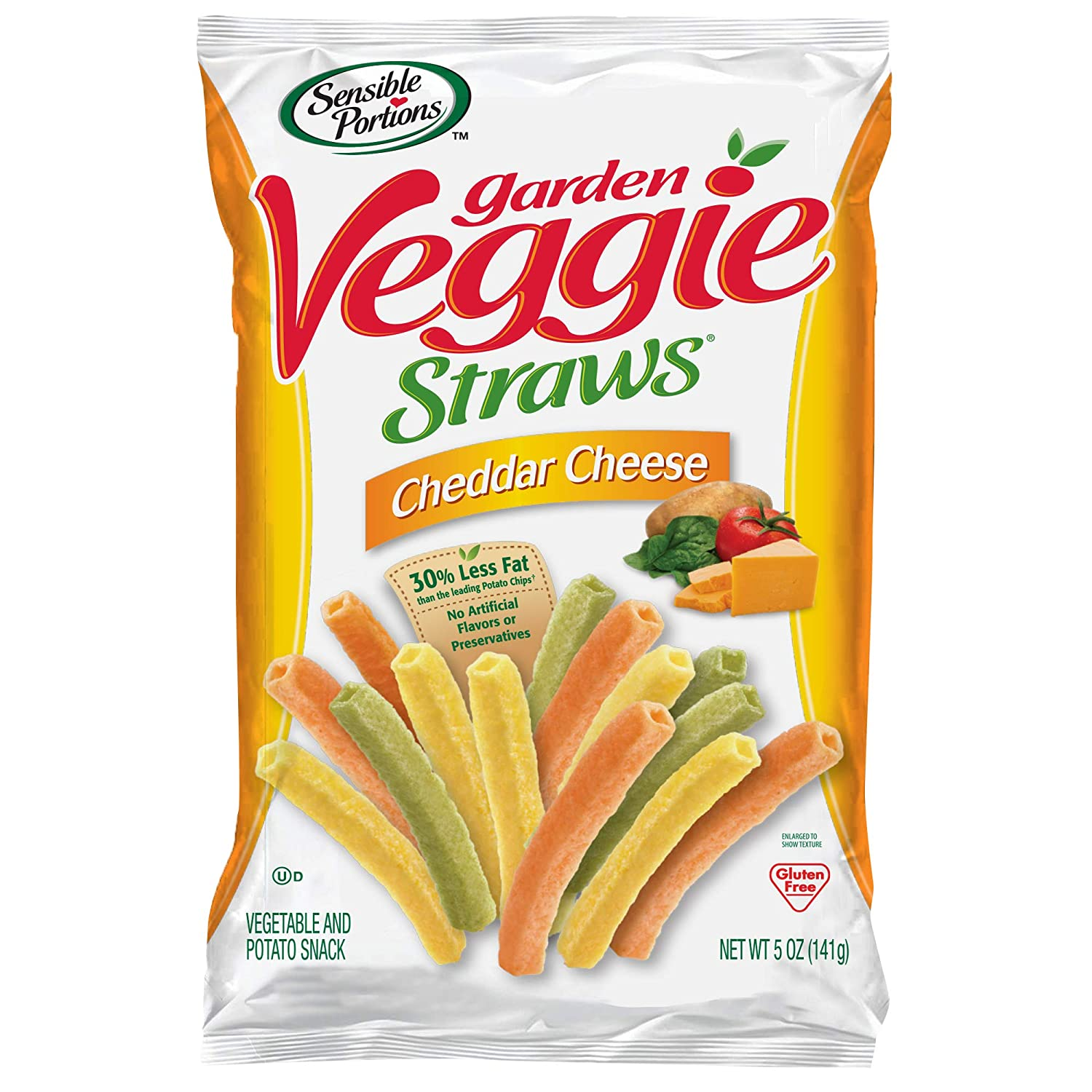 Sensible Portions Garden Veggie Straws, Cheddar Cheese, 5 Oz (Pack of 12)