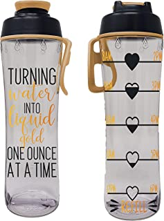 product image for 24 oz. BPA Free Reusable Water Bottle with Time Marker - Motivational Fitness Bottles - Hours Marked - Drink More Water Daily - Tracker Helps You Drink Water All Day - Made in USA (Liquid Gold)