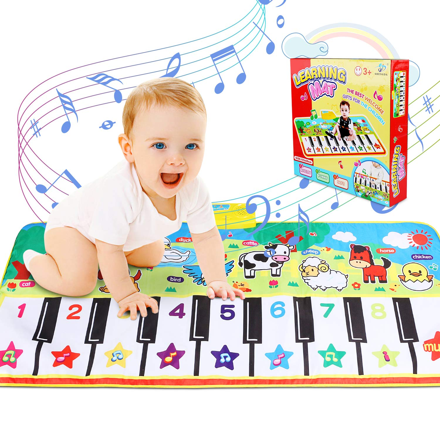 RenFox Musical Mats Keyboard Piano Play Mat Dance Floor Music Mat Animal Blanket Carpet Playmat Early Educational Toys for Kids Baby Toddlers Boy Girl(53.2x23.6 in)