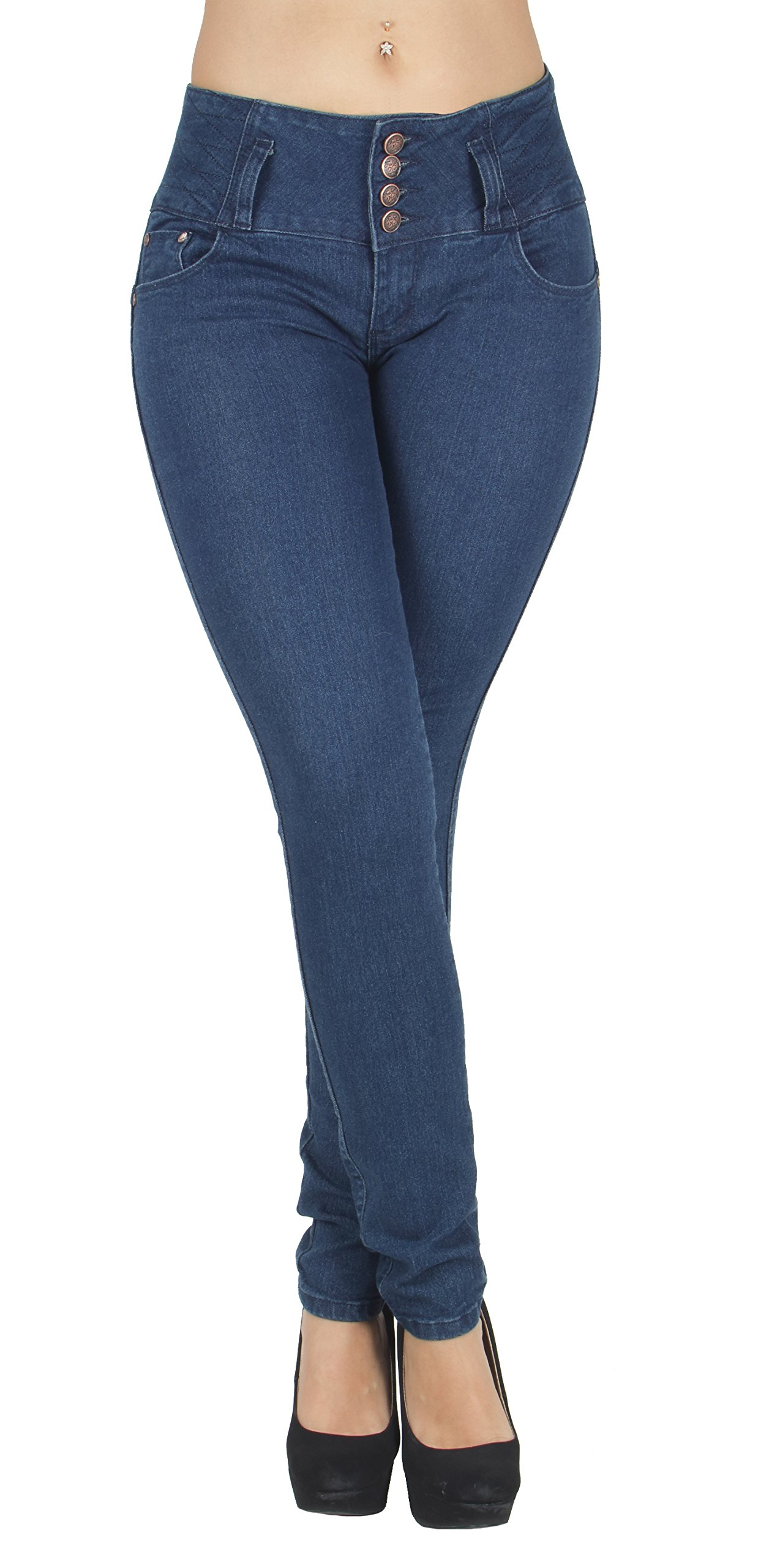Fashion2Love K319P - Plus Size, Butt Lift, Levanta Cola, Elastic Waist, Sexy Skinny Jeans in Navy Size 20
