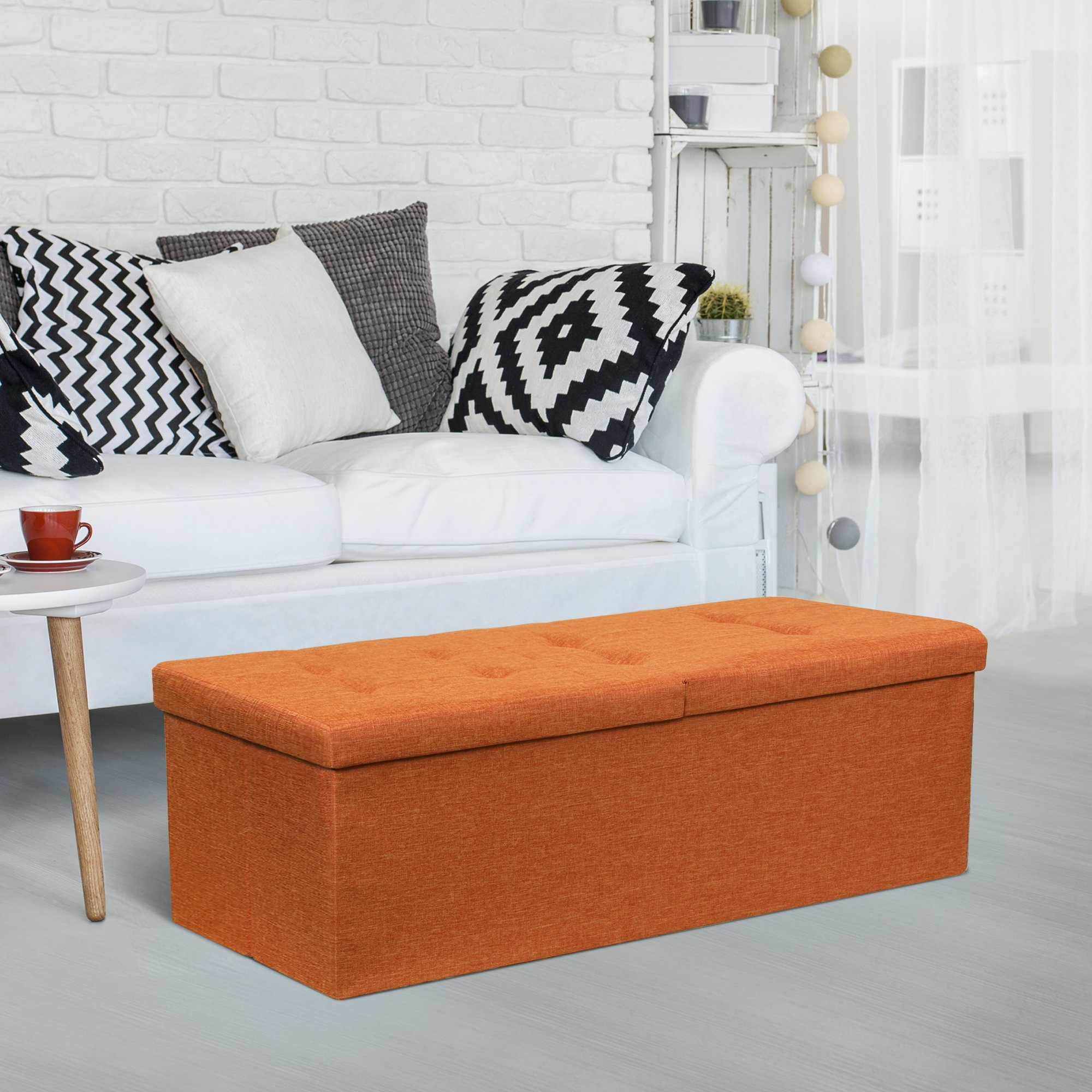 Otto & Ben 45″ Storage Ottoman with Smart Lift Top, Folding Large Foot Rest Stools Table Ottomans Bench with Linen Fabric