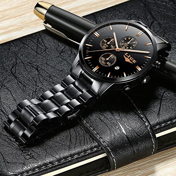 Amazon.com: Watches Mens Analog Stainless Steel Sport Waterproof Quartz-Watch Men LIGE Luxury Business Dress Chronograph Man Black Clock: Watches
