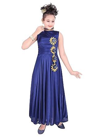 cbf8eaff5 Indian Evergreen Gown High Neck Bright Satin Lycra Frock Dress for Girls ( Blue