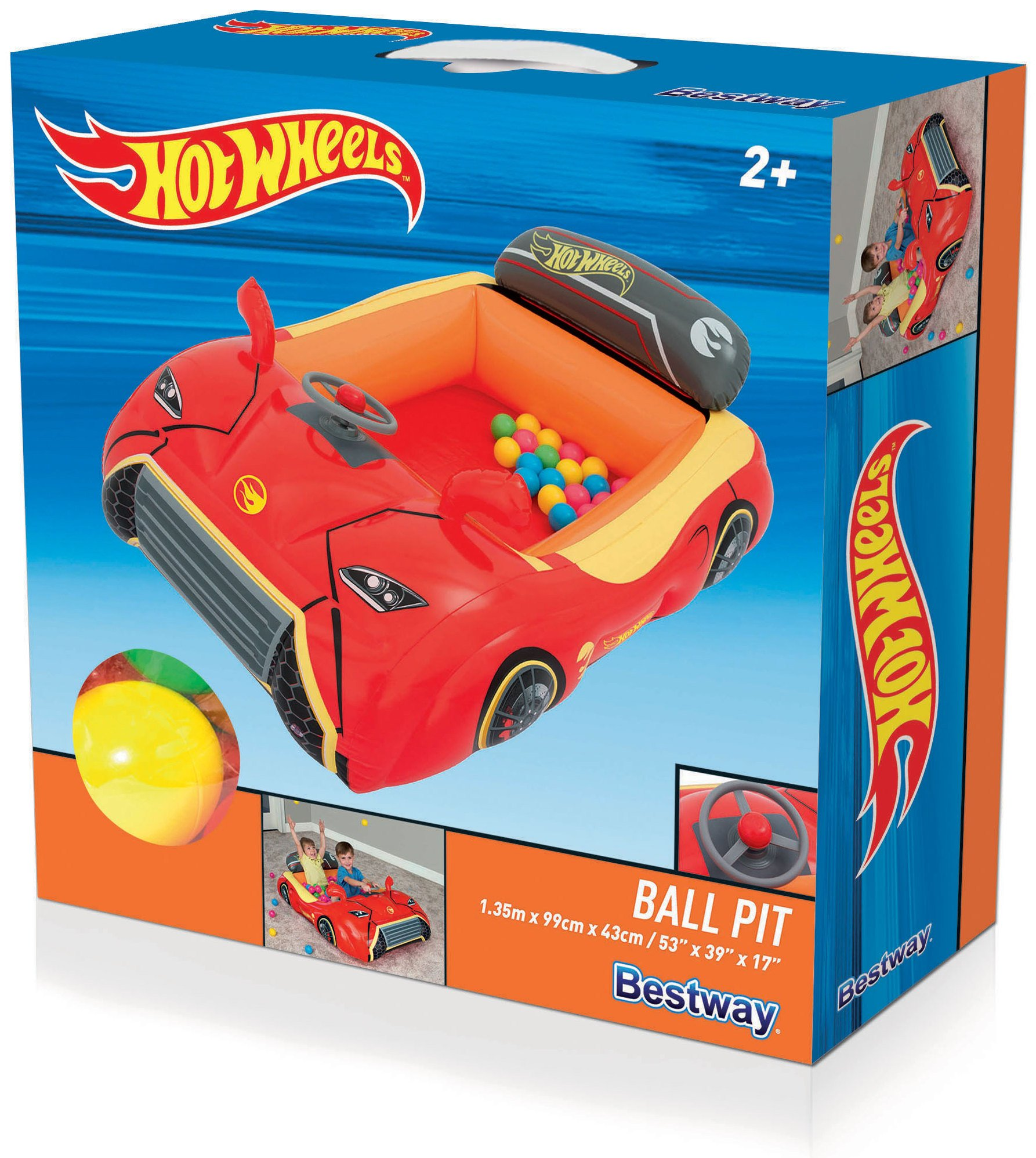 Bestway Hot Wheels Children's Inflatable Car Ball Pit, Includes 25 Balls by Bestway (Image #3)