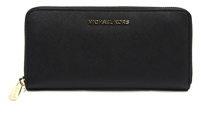 amazon com michael kors black saffiano leather large jet set zip rh amazon com