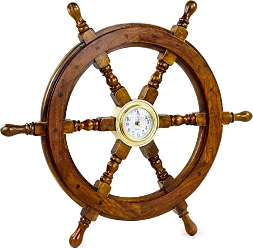 RedSkyTrader 24 Ship Wheel Clock Boat Decoration