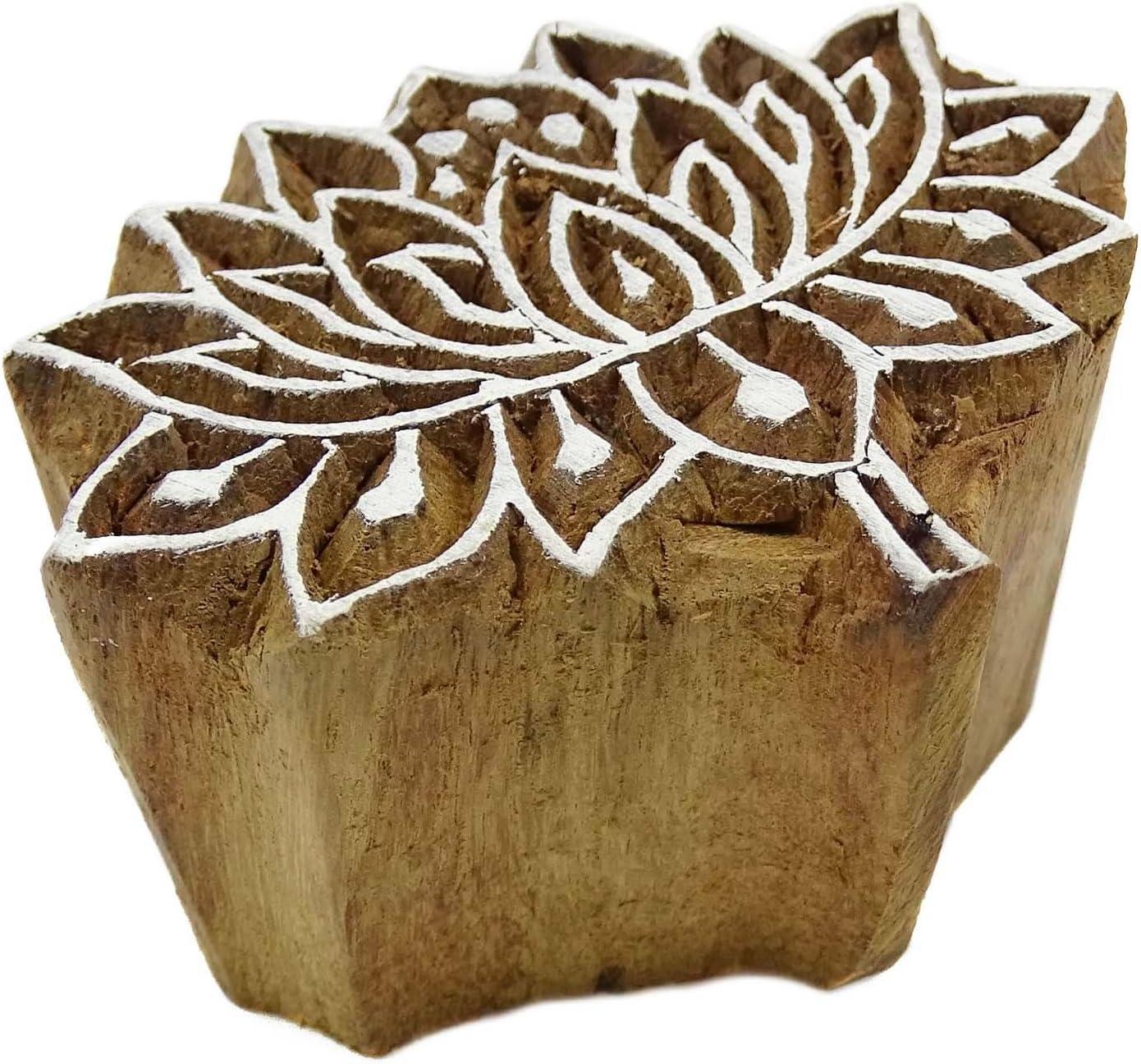 Lotus Pattern Wooden Hand Printing Block Carved Blocks Textile Print Stamps