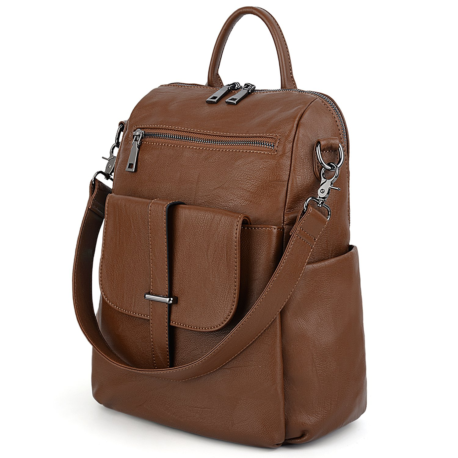 UTO Women Backpack Purse PU Washed Leather Convertible Ladies Rucksack Front Belt Pocket Shoulder Bag Brown by UTO
