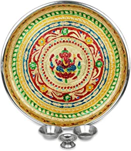 IndoTribe Large 4 Pc Meenakari Pooja Thali Pooja Thali Karva Chauth Set Diwali Decorations Diwali Gifts Indian Decor Decorative Plates Puja Items Thali Set