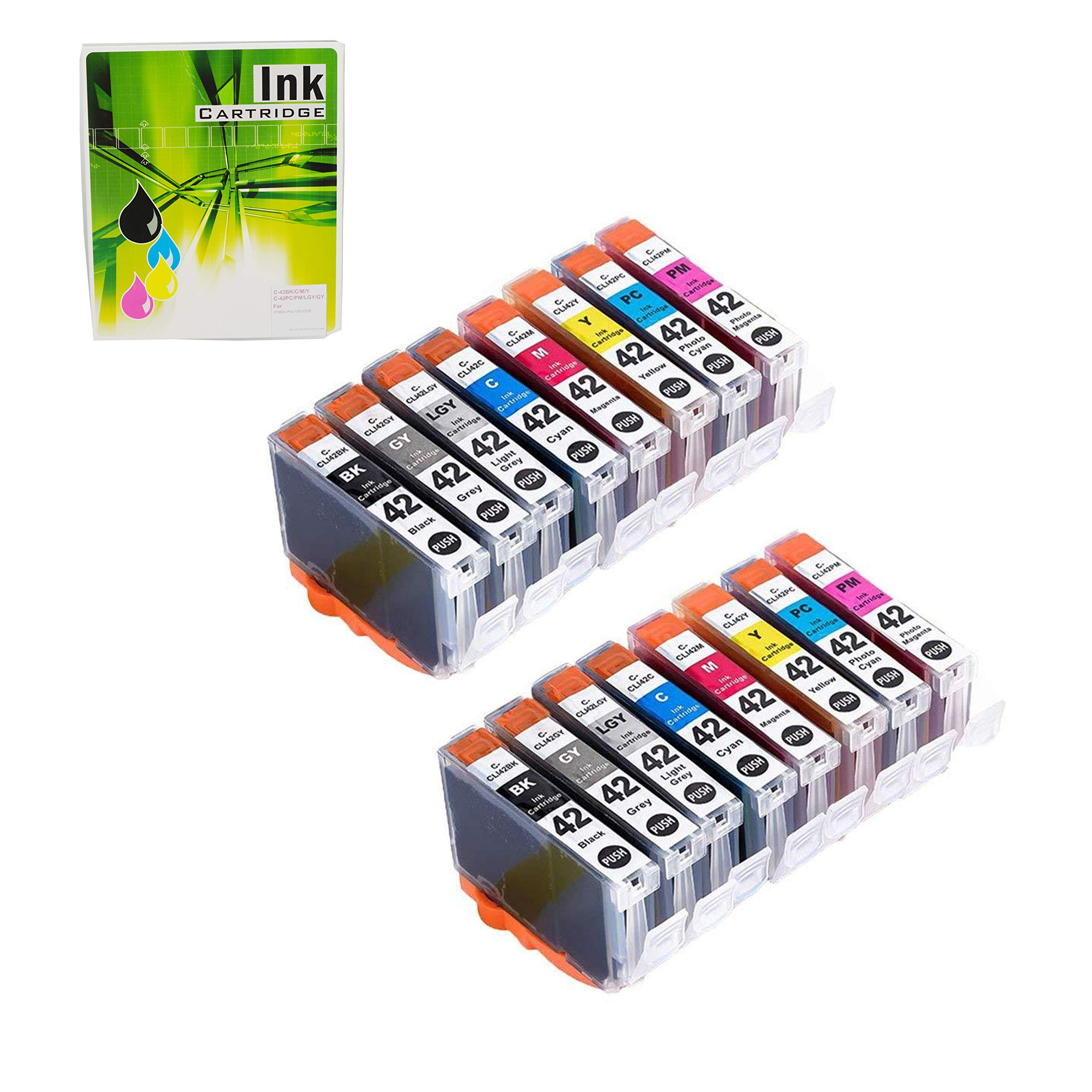 NEXTPAGE CLI 42 Ink cartridges Compatible Ink Cartridges Replacement for Canon CLI-42 CLI42 Use with Pro-100 Pro 100 Printer Professional Inkjet PIXMA PRO-100 Ink 8 Colors 2 Set 16 PCS