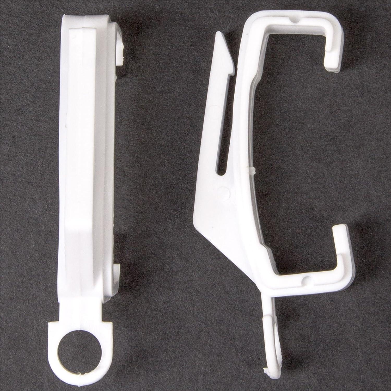 30x WHITE CURTAIN EXTRA VALANCE TRACK GLIDERS Plastic Track Rail Hooks Loops