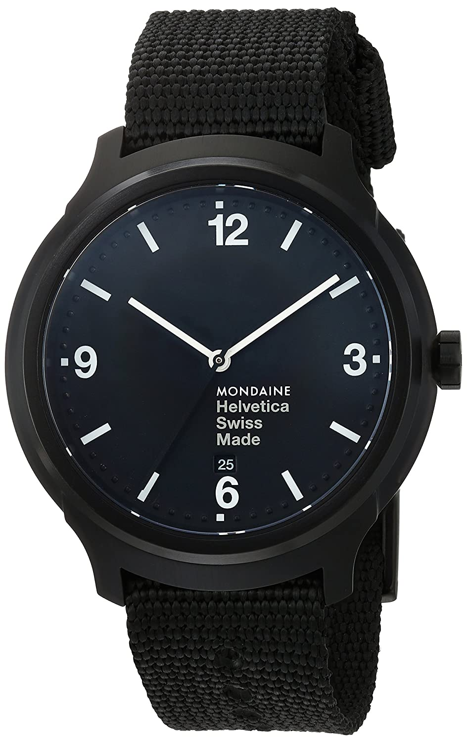 Mondaine Helvetica No1 Wrist Watch MH1.B1221.NB Black Nylon Strap, Black Case and Dial, White Hands and Numbers