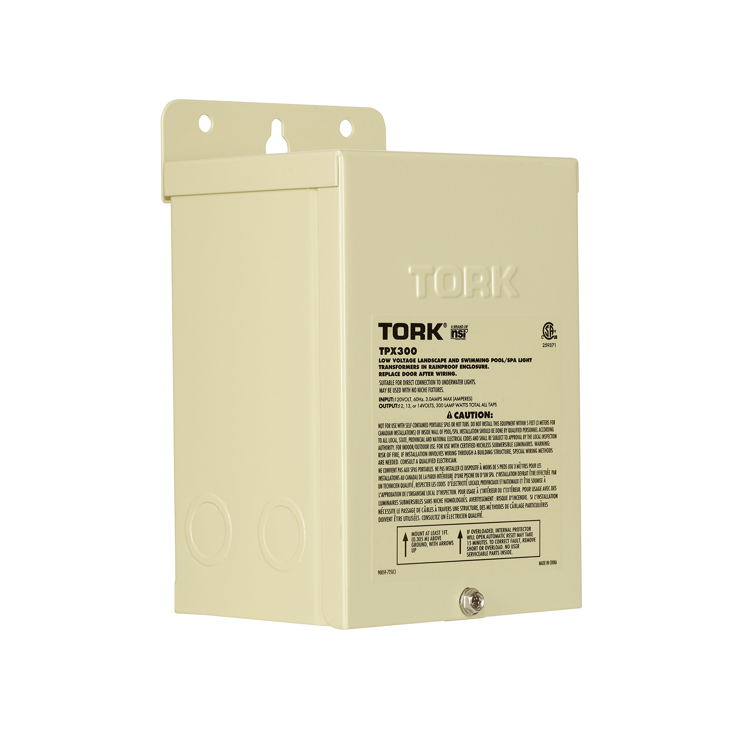 NSI Industries TORK TPX300 Low-Voltage 300-Watt Safety Transformer, for Indoor/Outdoor Pool/Spa, Landscape and Submersible Lighting Products, Beige by NSI