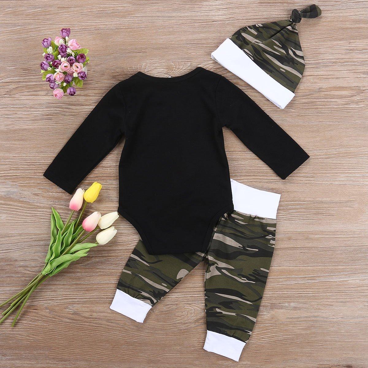 Hut Baby Outfits Babykleidung Jungen CIPOGL Kleinkind Baby Jungen Kleidung Little Man Drucken Langarm Strampler Bodysuit Tarnung Hosen