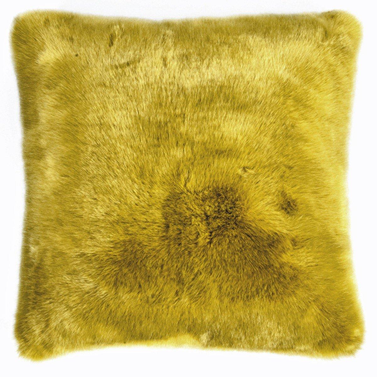 Pad - Kissenhülle - Kissenbezug - SHERIDAN - Kunstfell - mustard   gelb - 45 x 45 cm B015NRD1QE Kissenbezüge
