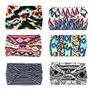 "Yeshan Women's 5.5"" Wide Yoga Headbands Elastic Boho Printed Floral Hairband Knotted Headwrap Hair Accessories,Pack of 6"