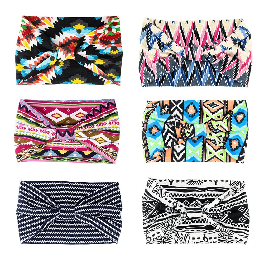 Yeshan Women's 5.5'' Wide Yoga Headbands Elastic Boho Printed Floral Hairband Knotted Headwrap Hair Accessories,Pack of 6