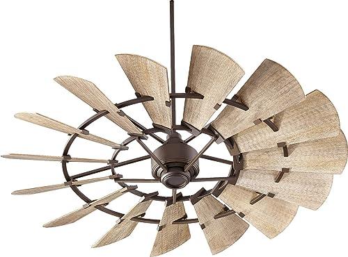 Quorum 96015-86 Indoor Windmill Ceiling Fan in Oiled Bronze with Weathered Oak Blades,Bronze Dark