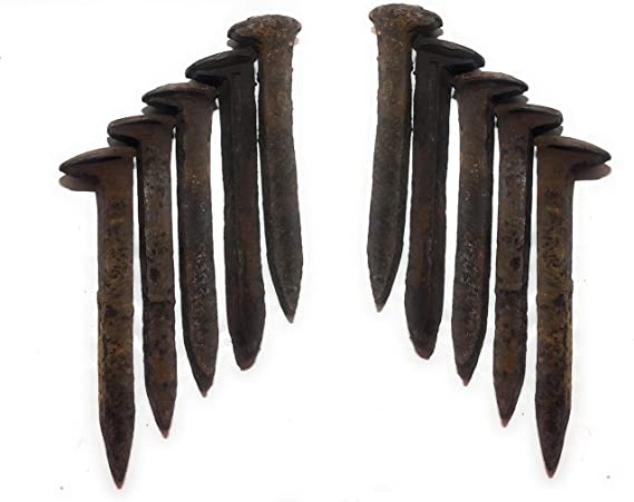 """Vintage Railroad Nail Spike Rusty 6.5/"""" Steel Train Track nails antique forge"""