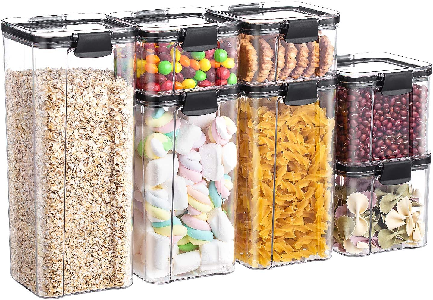 Food Storage Container Set - 7 PC Set, BPA Free, Leak-proof with Black ,Locking Lids Durable Lids Ideal for Cereal, food containers, cereal containers storage set