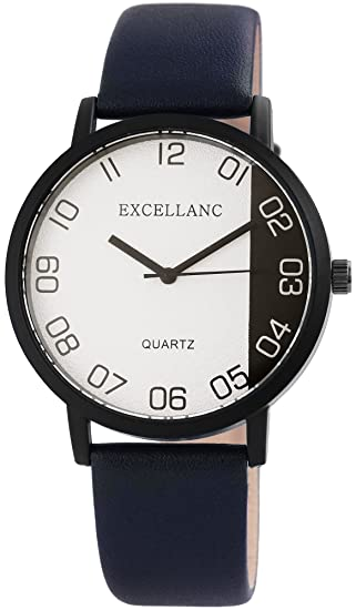 Reloj mujer piel blanco negro azul analógico de cuarzo reloj de pulsera