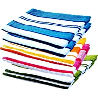 MYTHOS Striped Hand Towels High Absrobent for Kitchen Men and Gym (Set of 6)-, 12 inch X 18 inch (Multi Color)