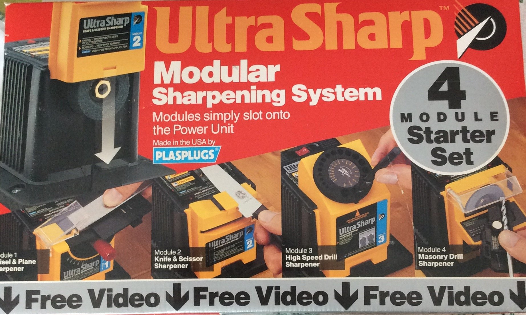 UltraSharp modular sharpening system by Plasplugs. Power unit with aluminum oxide grinding wheel. Chisel