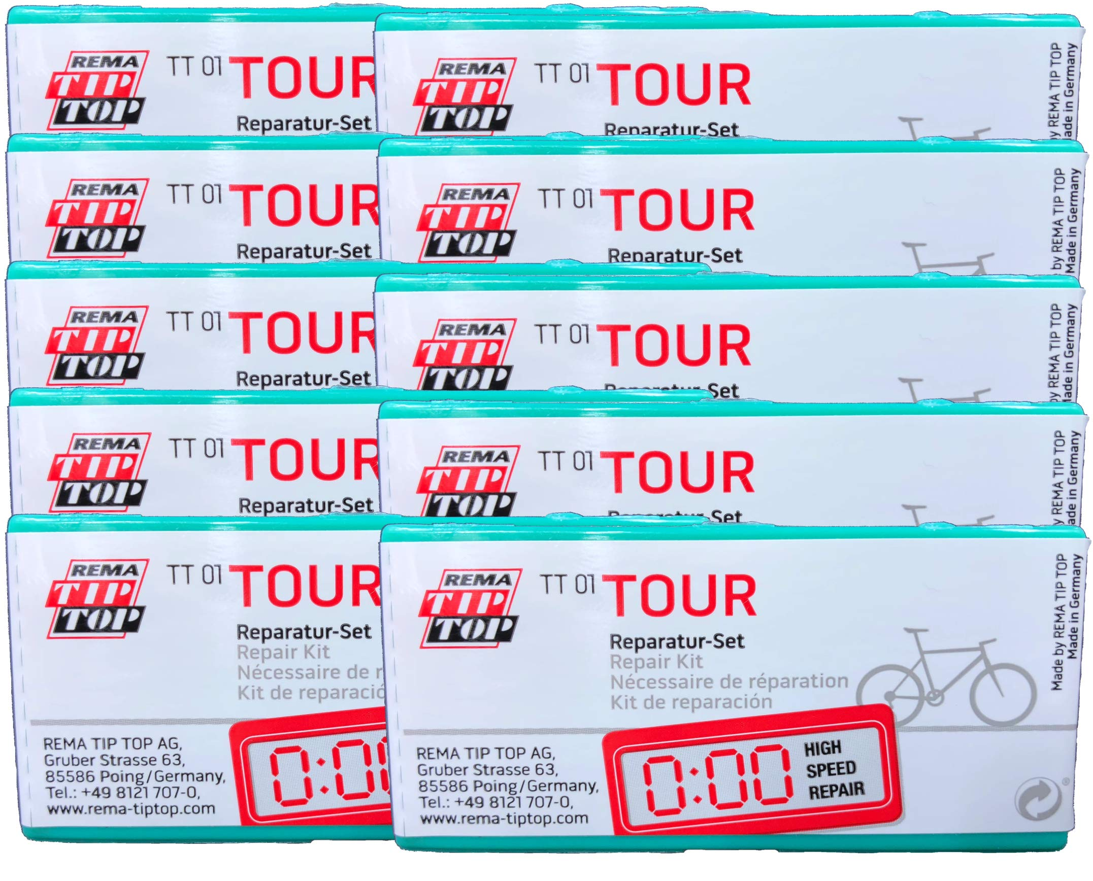 Rema Ten (10) Touring Bicycle Tube Patch Repair Kits TT01 (21) - Small TT O1