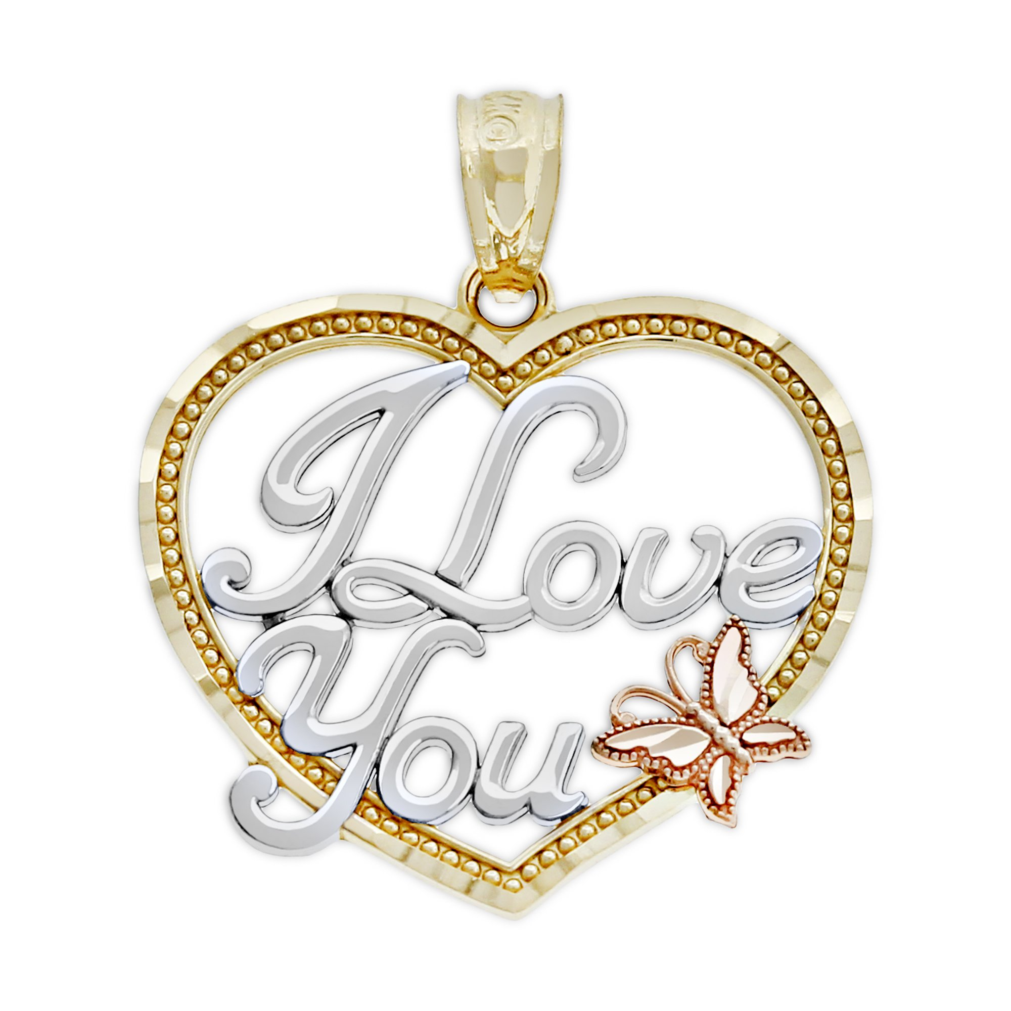 Charm America - Gold I Love You Heart Charm - 14 Karat Solid Gold