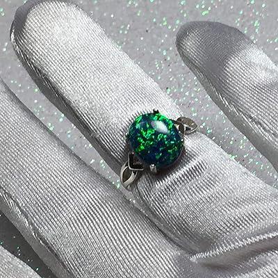 Argent 925 SF Taille 10 anneau blanc Lab Opal /& 8 mm Trillium BLACK ONYX /& TOPAZE