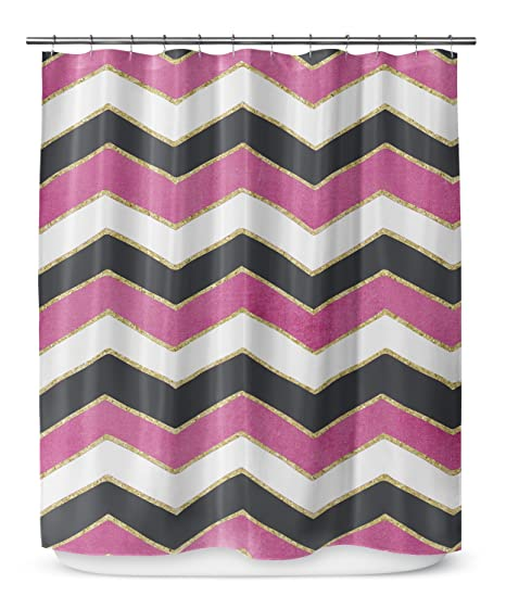 KAVKA DESIGNS Chevron White Pink Black Shower Curtain