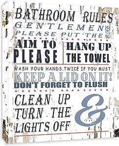 Bathroom Rules Bathroom Sign - FRAMED - Canvas Print Home Decor Wall Art, Gallery Wrap Inner Frame, White, 7x9