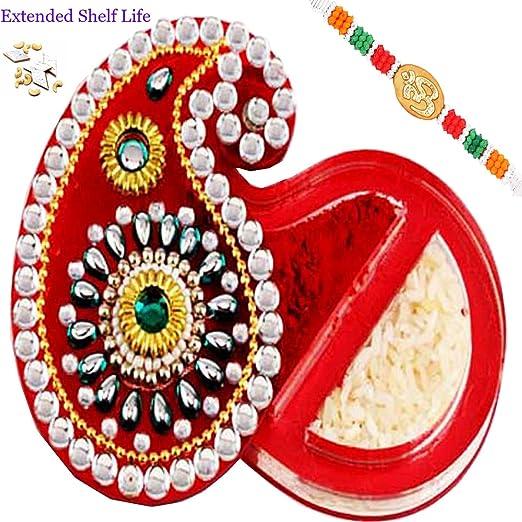 Rakhi Gifts-Tikka Chawal Conatiner with 200 gms Kaju Katli