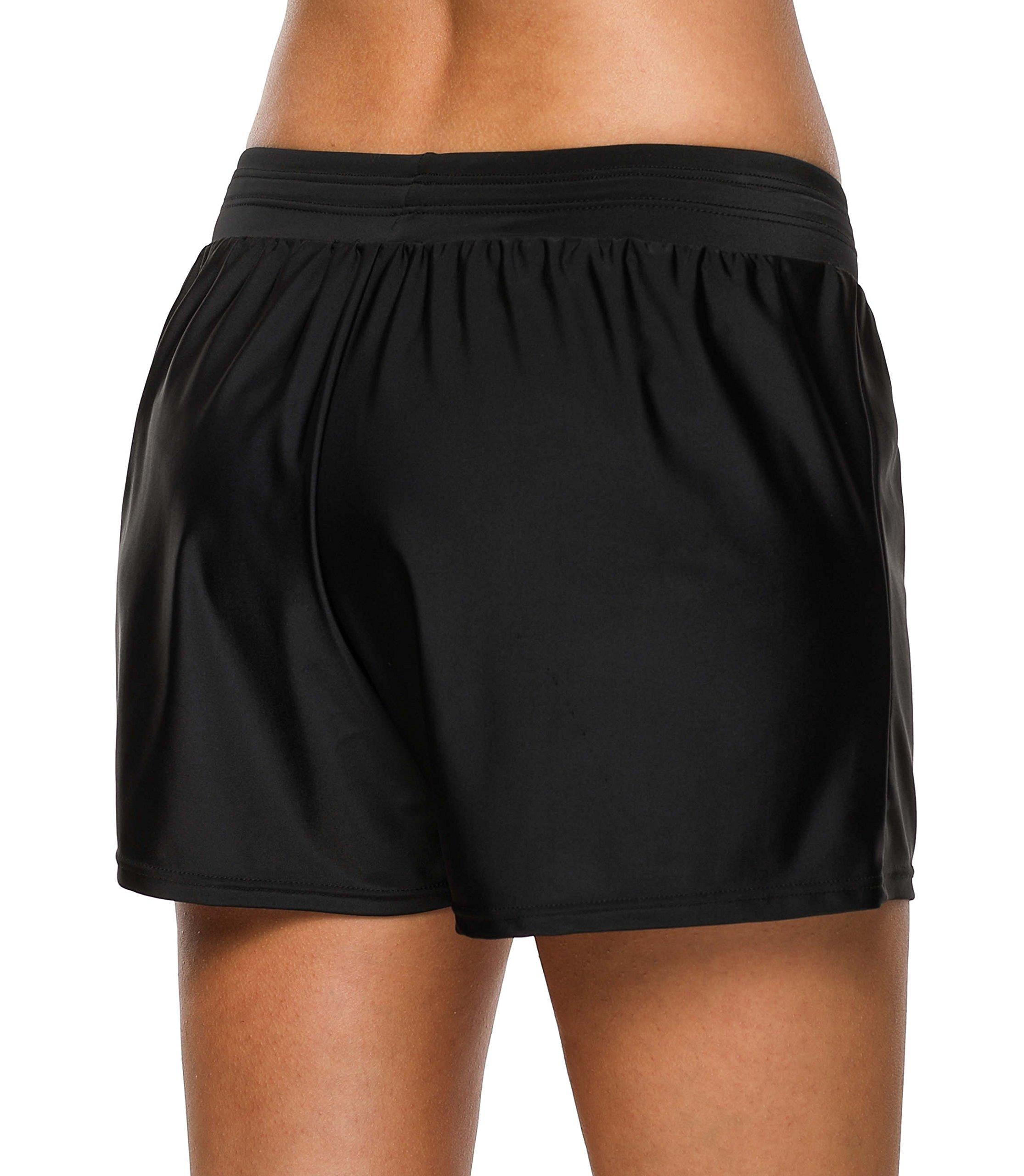 beautyin Womens Swim Bottoms Board Shorts Swimsuit Bathing Suit Shorts Black 2XL by beautyin (Image #4)
