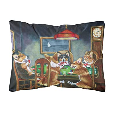 Caroline's Treasures 7416PW1216 Corgi Playing Poker Fabric Decorative Pillow, 12H x16W, Multicolor : Garden & Outdoor