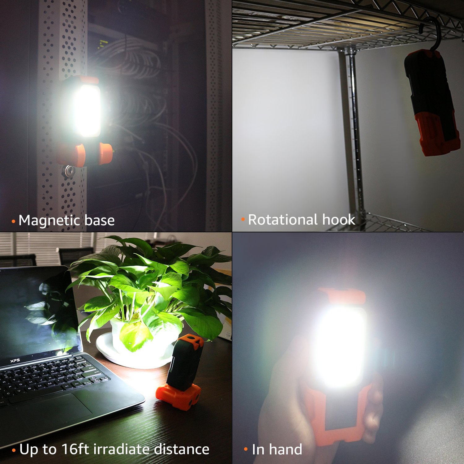Magnetic Base /& Hanging Hook TORCHSTAR Portable LED Work Light for Car Repairing and Emergency 120/° Beam Angle Flood Light Multi-use COB Flashlight Pack of 2 Battery-Operated 5000K Daylight