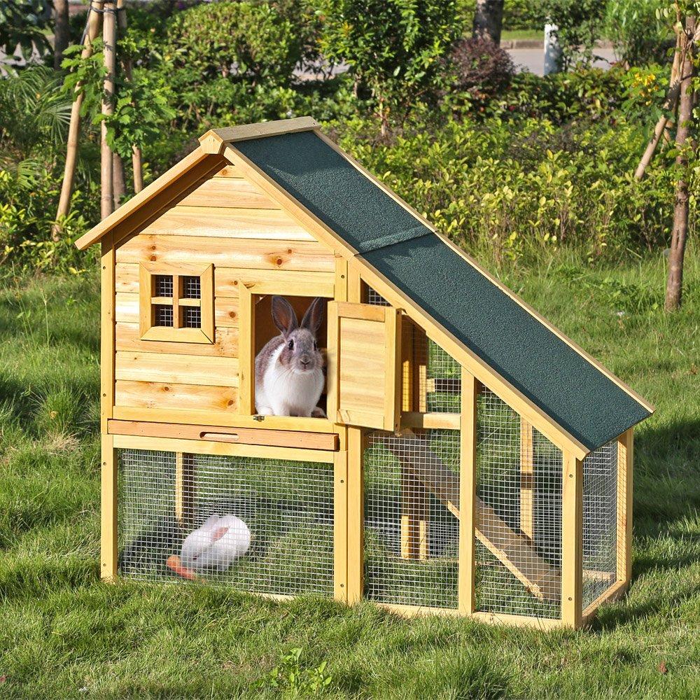 iKayaa  Wood Rabit Hutch Waterproof, Outdoor Chicken Coop, Wooden Pet House, Large