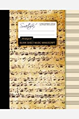 Blank Sheet Music: Music Manuscript Paper / Staff Paper / Musicians Notebook [ Book Bound (Perfect Binding) * 12 Stave * 100 pages * Large * Antique ] (Composition Books - Music Manuscript Paper) Stationery