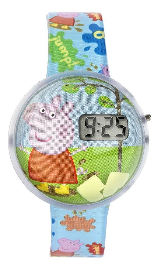 Peppa Pig PEP122 - Reloj digital infantil con esfera multicolor y correa de plástico azul: Amazon.es: Relojes