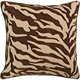 "Surya JS-033 Contemporary Hand Crafted 100% Poly Brown 18"" x 18"" Animal Decorative Pillow"