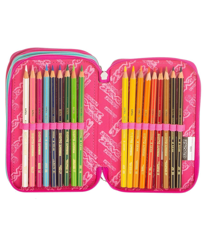 Blu SUGARSKULL pennarelli matite gomma ecc. 3 scomparti ASTUCCIO scuola SEVEN