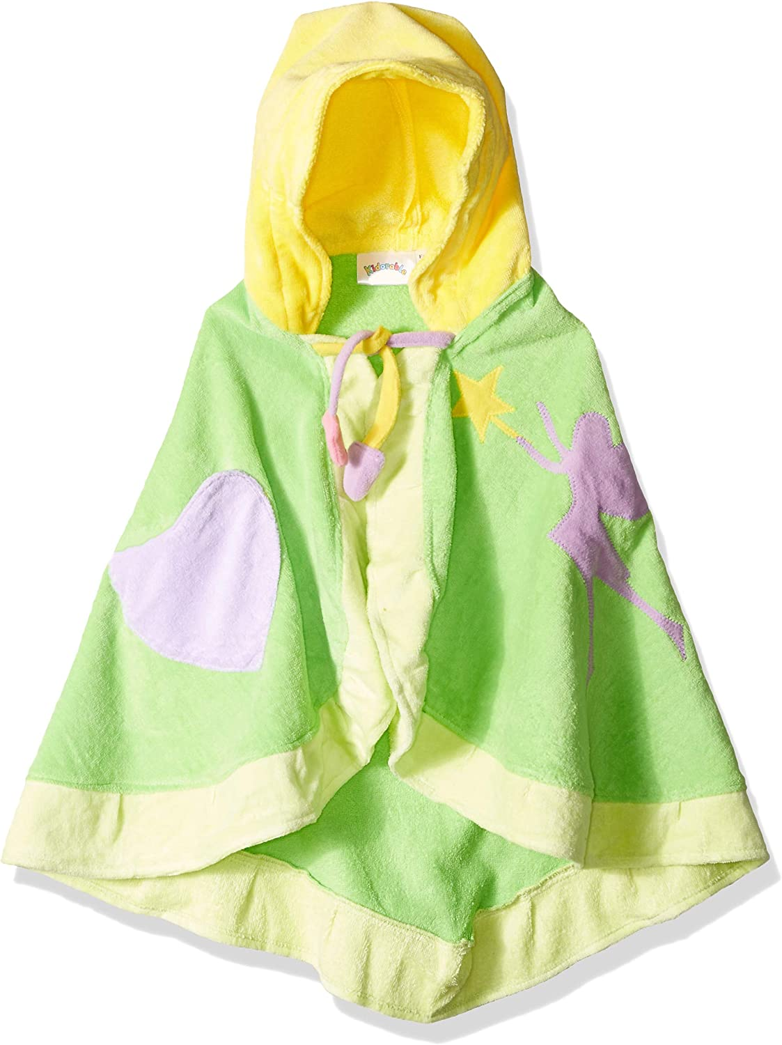 Kidorable Green Fairy All-Cotton Hooded Towel for Girls with Fun Fairy Wings and Flowers