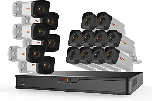 Revo America Ultra 16Ch. 4TB HDD 4K IP NVR Surveillance System – Fixed Lens 16 x 1080p IP Bullet Cameras – Remote Access via Smart Phone, Tablet, PC MAC